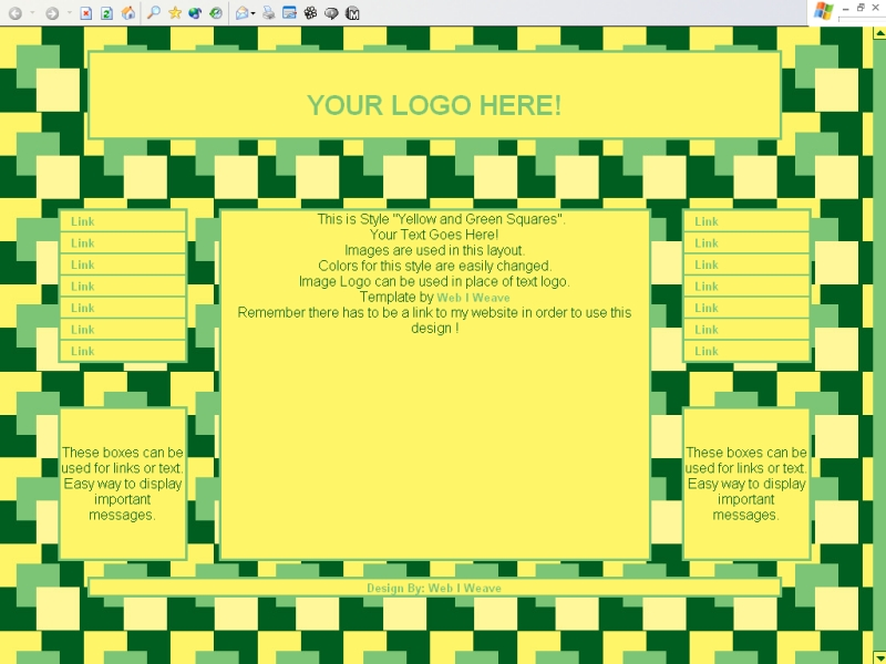 Yellow and Green Squares Template